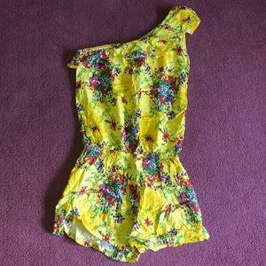 Flower Print Yellow Romper